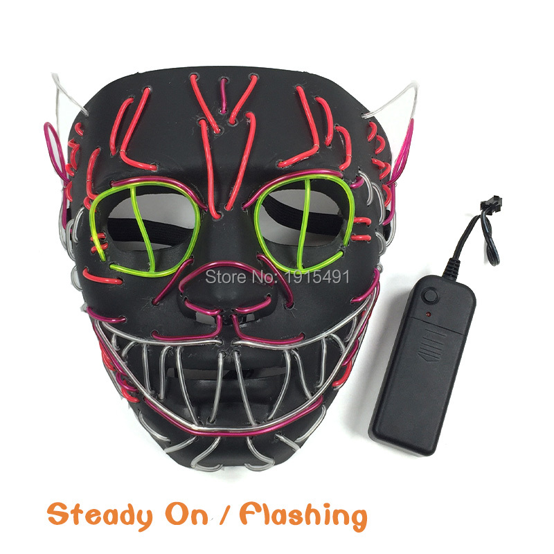 New Design Funny Illuminate Led Strip Neon Cat King Mask EL Cable Rope Animal Shape Colorful Mask for Carnival Children Day ...