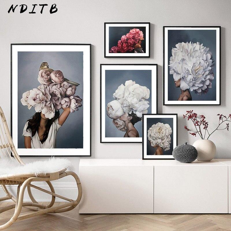 Tüy çiçek kadın kafa tuval Poster İskandinav soyut duvar sanat baskı boyama Modern dekoratif resim oturma odası dekorasyon