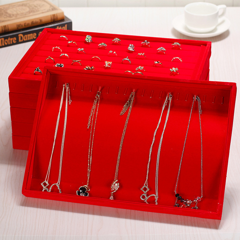 New Arrival Red Velvet Jewelry Tray Jewellery Display Box Necklace Earring Pendant Stud Organizer Other Accessories Show Case