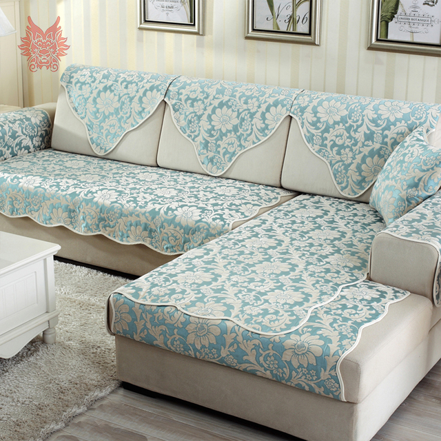 Europe pastoral style luxury sky blue floral jacquard sofa cover ...