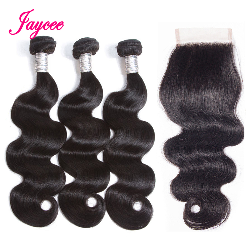 Jaycee Products Human Hair Bundles With Closure Non-remy Brazilian Hair Weave 3 Bundles Body Wave With Lace Closure 4*4