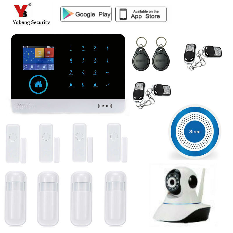 Yobang Security wireless GSM Home Security Alarm System with Wireless PIR Detector Door Sensor wifi Alarm System yobang security wifi gsm wireless pir home security sms alarm system glass break sensor smoke detector for home protection