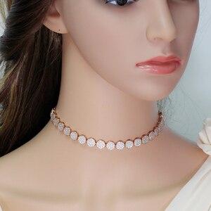 Image 5 - CWWZircons collier choker pour femmes, taille ajustable à la mode, couleur or Rose, Micro, pavé, rond, zircone cubique, CP006