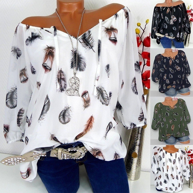 5xl plus size Feathers Print Blouse V-Neck black Off the Shoulder woman shirt 2018 New Arrival fashion Casual white ladies tops