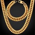 Gold Plated / Stainless Steel Bracelet Necklace Set American Style Hip Hop Big Heavy Cool 28'' Chain Men's Jewelry GNH1150