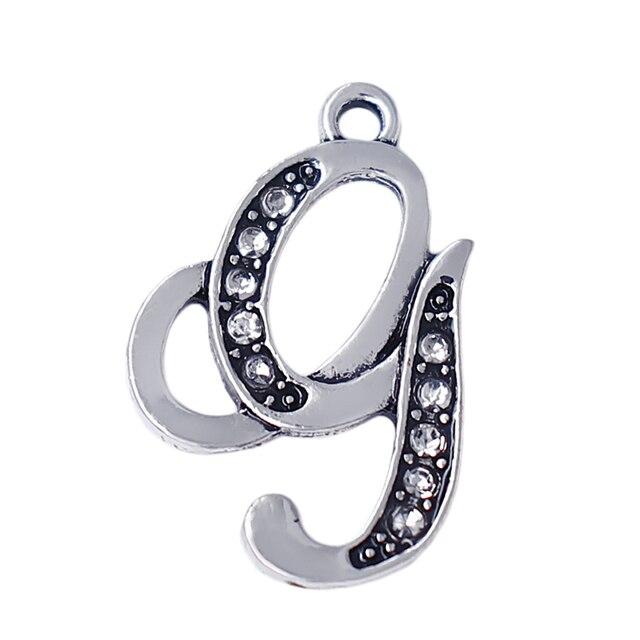 Fashion English Girl Abbreviation G Metal Crystal Charm Of The European Alphabet 26 Initials Pendant Factory