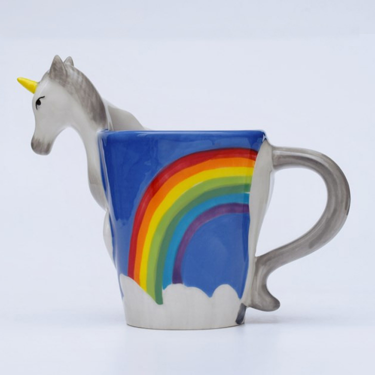 New Arrival Quirky Rainbow Unicorn Mug I Don t Believe In Humans Office Coffee Cup Magical