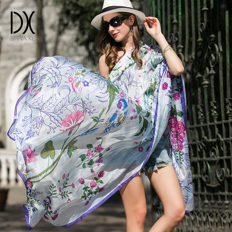 Silk Scarf Scarves Stoles Bandana Shawl Wrap Luxury Brand Long Soft Foulard New 245*110cm Beach Blanket
