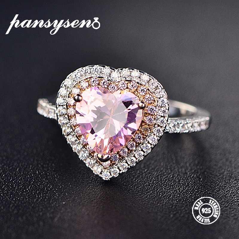 2019 Classic Luxury Real Solid 925 Sterling Silver Ring 2Ct Romantic Hearts Spinel Wedding Jewelry Rings Engagement For Women2019 Classic Luxury Real Solid 925 Sterling Silver Ring 2Ct Romantic Hearts Spinel Wedding Jewelry Rings Engagement For Women