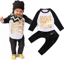 Cool Baby Toddler Boy 2PCS Set T-shirt Top +Leather Pants Leggings Outfits 0-24M