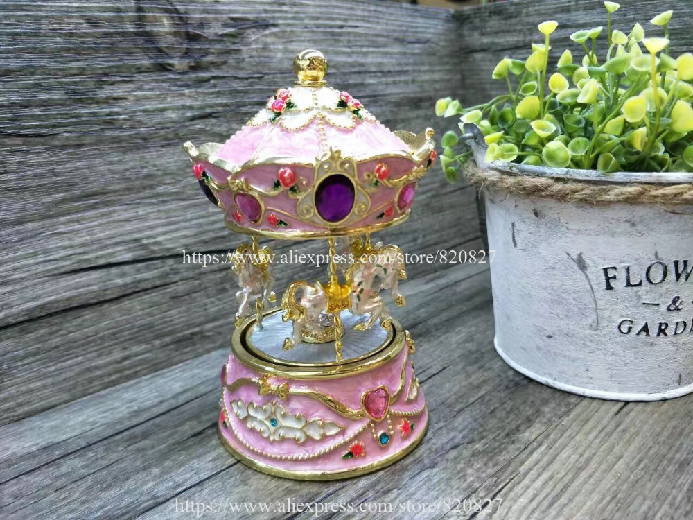 Boîte à bibelots en métal carrousel à 3 chevaux avec musique en étain décoratif bibelot bijoux boîte à musique filles cadeau jouet boîtes à cadeaux en métal