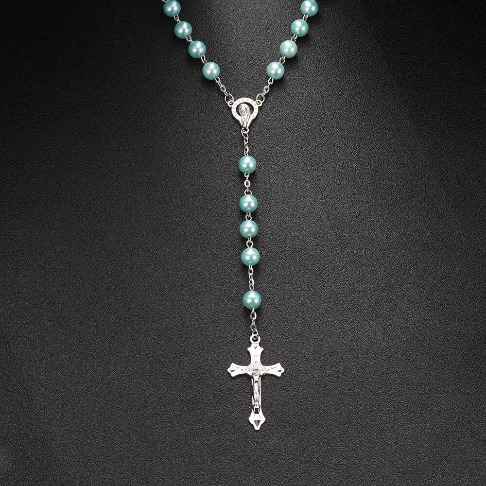 2020 New Fashion Handmade Round Glass Bead Catholic Rosary Quality Bead Cross Necklace Beads Cross Religious Pendants Necklace