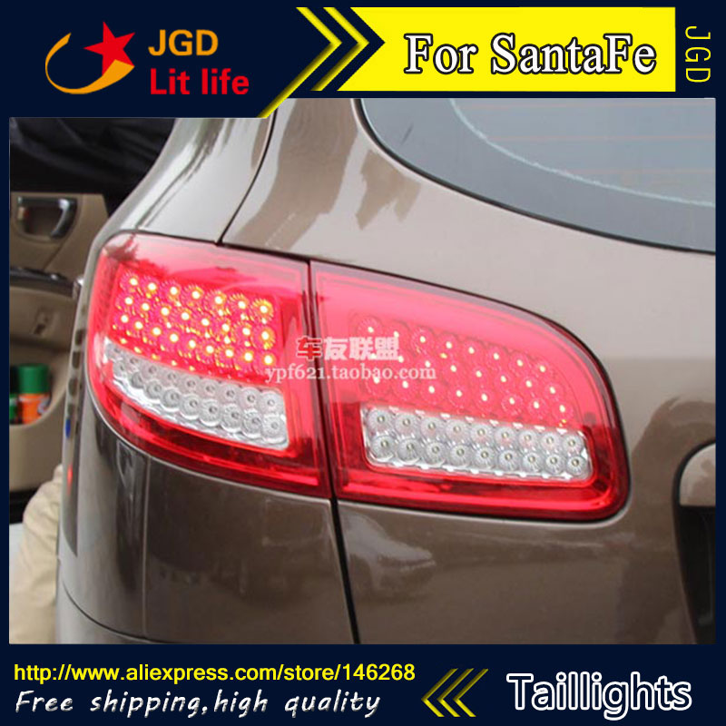 Car Styling tail lights for Hyundai Santa Fe 2007-2013 taillights LED Tail Lamp rear trunk lamp cover drl+signal+brake+reverse car styling tail lights for toyota prado 2011 2012 2013 led tail lamp rear trunk lamp cover drl signal brake reverse