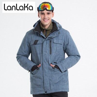 LANLAKA  New Brand Ski Jacket Men Winter Waterproof Coat High-Quality Snowboarding Jackets Cowboy-Blue Ski Jackets Male Skee