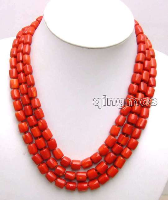 """SALE GENUINE Big 10-11mm Thick Slice NATURAL Red Coral 3 strands 18-19-20"""" Necklace-5847 wholesale/retail Free shipping"""
