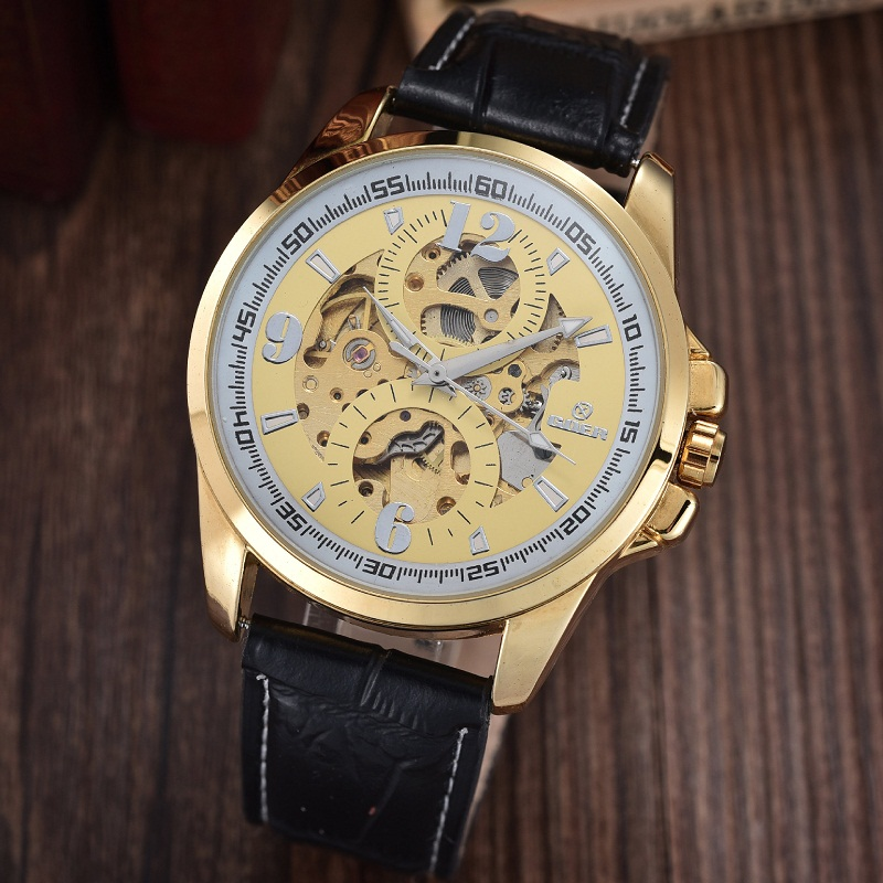 GOER brand Men s mechanical wrist watch waterproof sports watch male Automatic Luminous Skeleton Leather