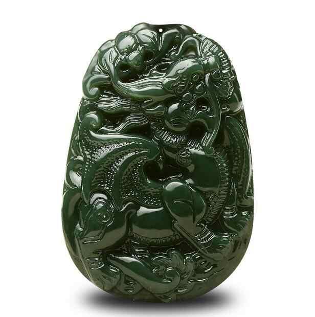 O transporte da gota Verde Escuro Natural HETIAN Nephrite Pingente de Mão-Cinzelado flyPIXIU Jades Rodada Colar Moda masculina Moda Jóias