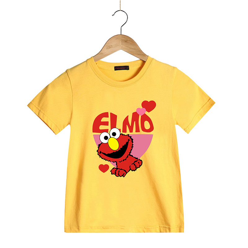 100 Cotton Summer Boys Girls T Shirts Sesame Street Elmo Tees