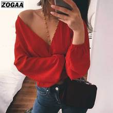 ZOGAA Backless Sexy Deep V-collar Blouse New Spring Long Sleeves Pure Color Pollover Chiffon Shirt For Fashion Ladies In 2019
