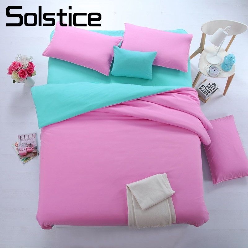 Solstice Bedding-Set Cyan Pillowcase Flat-Sheet Twin-Duvet-Cover Bedlinen Queen Home-Textile