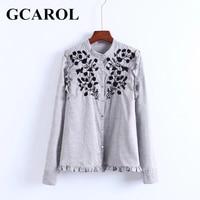 GCAROL New Arrival Embroidered Black Floral Women Blouse Stand Collar Ruffles OL Shirt Elegant Vintage Female