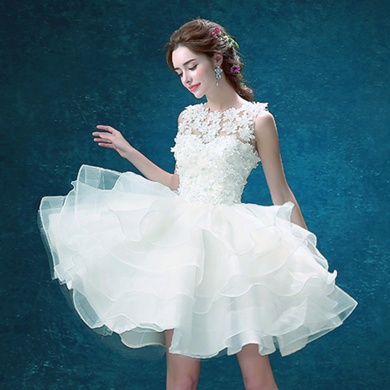 Lace Sleeveless Ballet   Dress   Women White Short   Prom     Dresses   Luxury Crystals Ball Gown Sexy Illusion Beads Fairy Robe Princesse