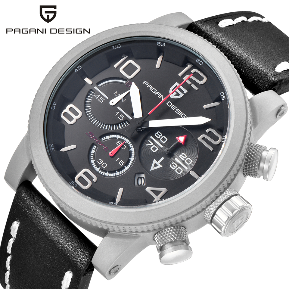 Pagani design men 럭셔리 브랜드 분 초 크로노 그래프 스포츠 시계 방수 스톱워치 날짜 가죽 쿼트 손목 시계 시계-에서수정 시계부터 시계 의  그룹 3