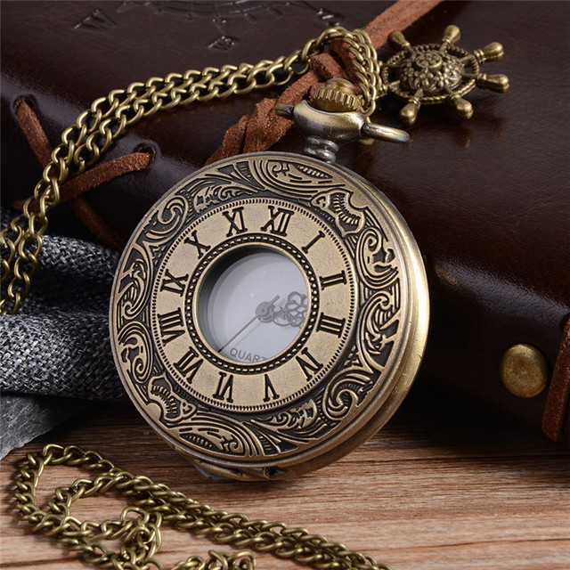 Vintage Bronze Steampunk Pocket Watch Roman Numerals Quartz Necklace Pocket & Fo