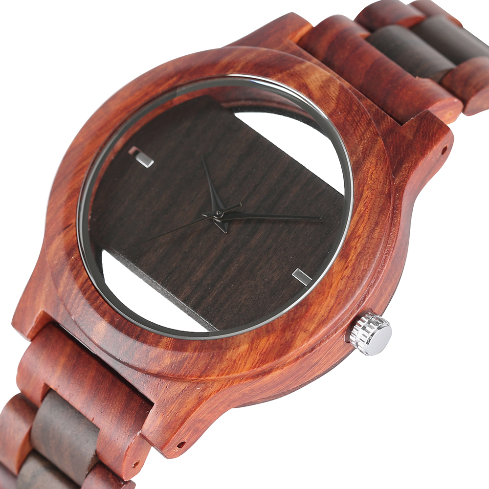 Top Luxury Full Bamboo Wood Zegarek kwarcowy Mens Hollow bransoletka analogowy ręcznie robiony zegarek męski prosty reloj de hombre 2019