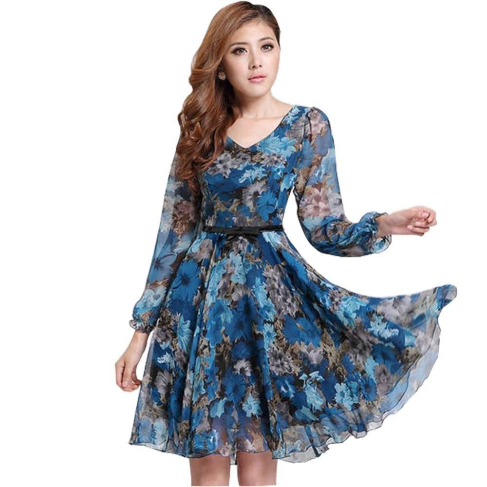 2017 Для женщин Цветочный принт Винтаж платье плюс Размеры Sweet Lady с длинным рукавом V Средства ухода за кожей Шеи Повседневное летнее шифоновое китайский Стиль платье