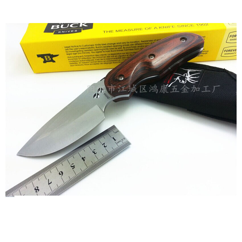 Free delivery Buck 076 Stainless Steel 7CR17MOV 58HRC Fixed Blade Camping Hunting Knife