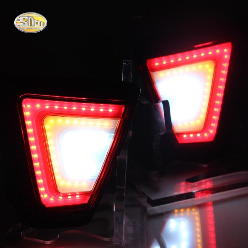 SNCN LED Rear Bumper lamp for Honda Jazz 2014-2016 fit Rear fog lamp rear dring braking turning lights