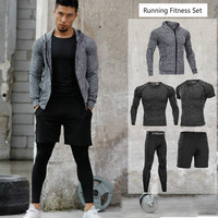 2018 New Men's Sport Suits Running Sets 5pcs/sets Compression Basketball Tights Clothes Quick Dry Gym Fitness Jogging Sportswear