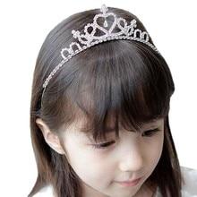Fashion Girls Rhinestone Princess Crown Headband Tiara Hair Sticks Hairband Accessories