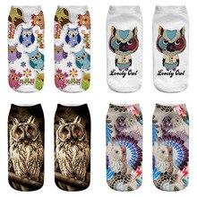 1 Pair Women Ladies Cotton 3D Socks Print Cute Owl Low Cut Boat Sock Harajuku Ankle Socks Cartoon Casual Short Breathable Socks