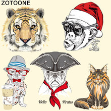 ZOTOONE Iron on Transfer Patches for Clothes Decoration DIY Cute Cartoon Animal Stripes Applique T-shirt Custom Patch Stickers E