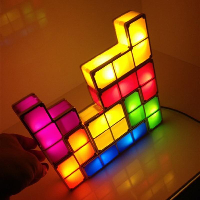 Tetris diy edificabile retro game style impilabile led luce di notte di puzzle da tavolo lampada da parete della luce romantica luce decorativa
