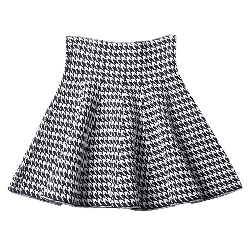 2019 New Women's Korean Version Pleated Skirt  Umbrella Skirt High Waist Bottom Knitted Skirt Autumn A-line Skirt