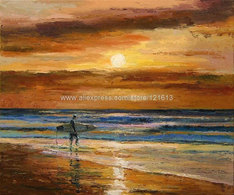 Abstract Living Room Background Decoration Hand Painted Painting Oil On Canvas Art Beach Ocean Dusan Surfing At Dusk In Calligraphy From Home