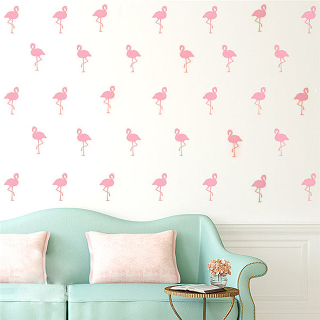 15pcs Mini 5*10cm Flamingo Wall Stickers Bird Decals For Kids Rooms DIY Art Vinyl New Design Home Decor