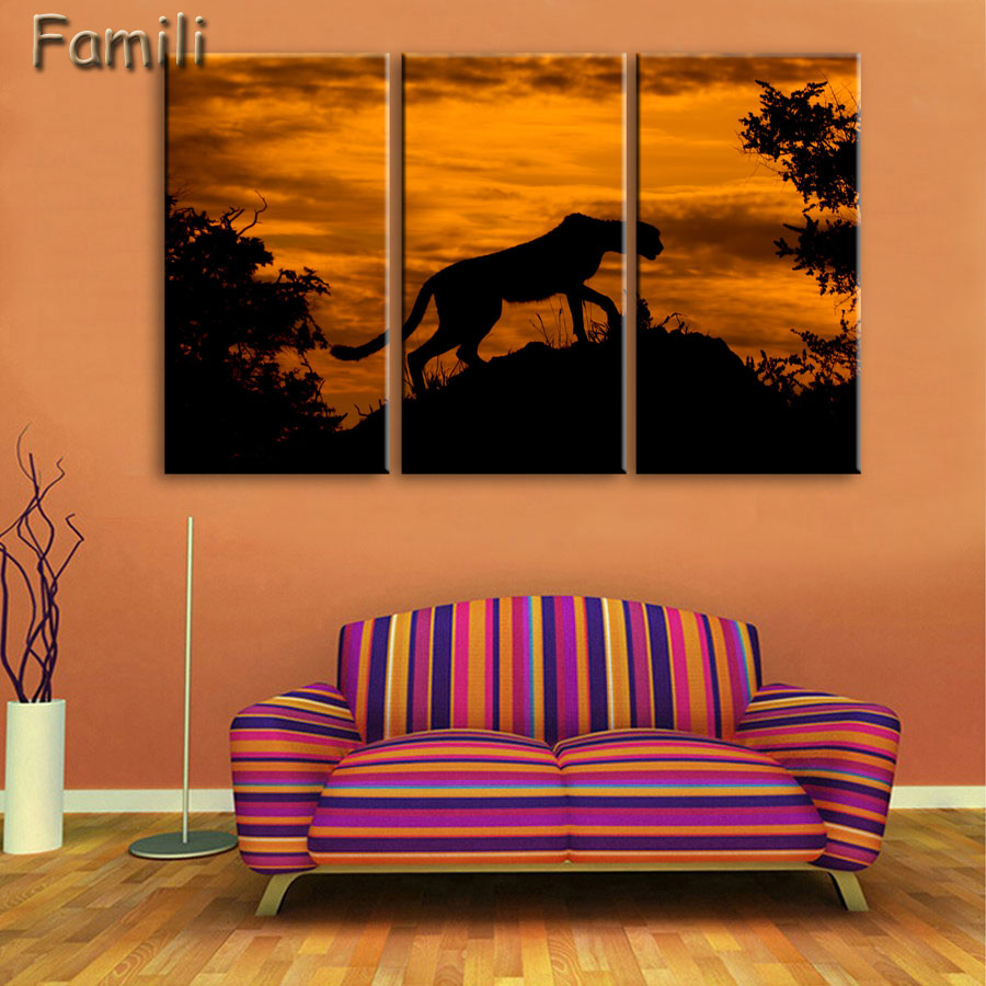 Cheetah Painting Canvas HD Print 3pieces Canvas Wall Art