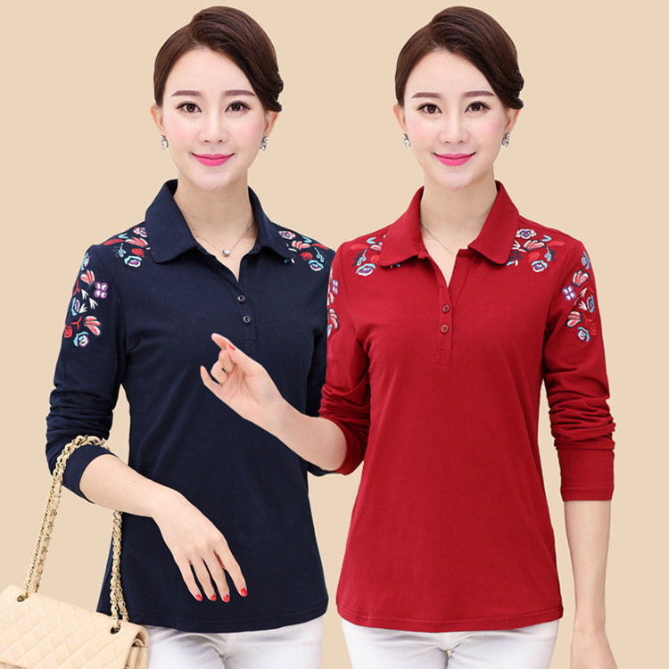 Spring Middle Aged Women T-Shirts Long Sleeve Embroidery Casual T Shirt Female Tees Cotton Elegant Ladies Tees Tops Plus Size