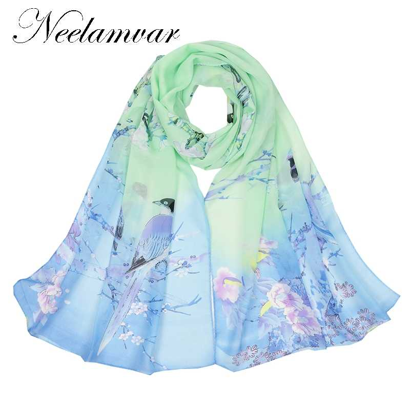7ef6ada6f8507 ... Neelamvar fashion women's scarf flower bird print chiffon silk scarves  thin long shawls autumn and winter ...