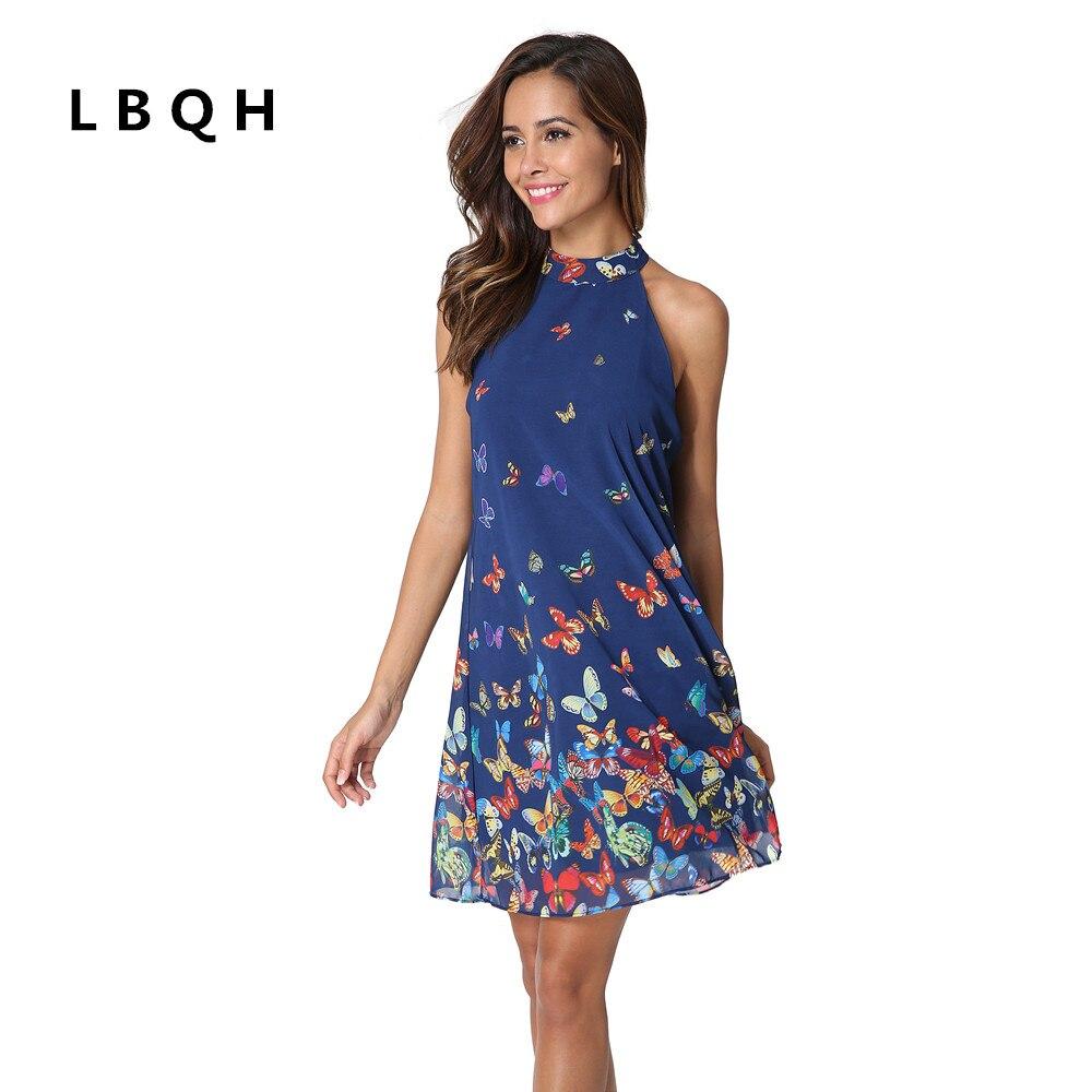 LBQH New ladies fashion summer sexy sleeveless hanging neck brand dress high quality women chiffon printing butterfly dress