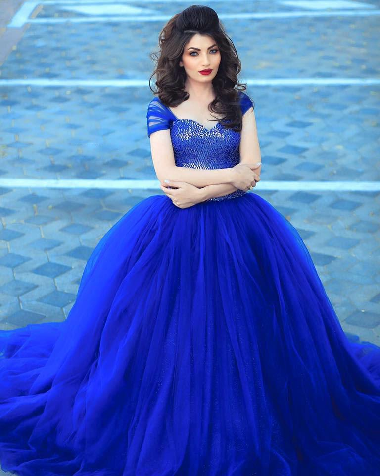 Buy royal blue long ball gown evening for Blue wedding dress with sleeves