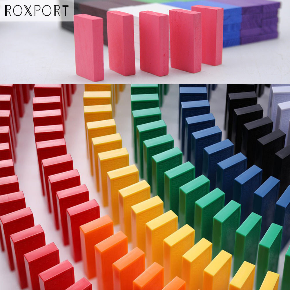 120pcs/set Domino Toys Children Wooden Toys Colored Domino Blocks Kits Early Learning Dominoes Games Educational Children Toys