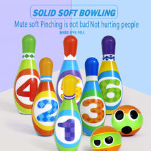 Pu solid children's bowling toy set large indoor baby ball outdoor parent-child sports toys mini desktop bowling game toy set fun indoor parent child interactive table game bowling developmental toy