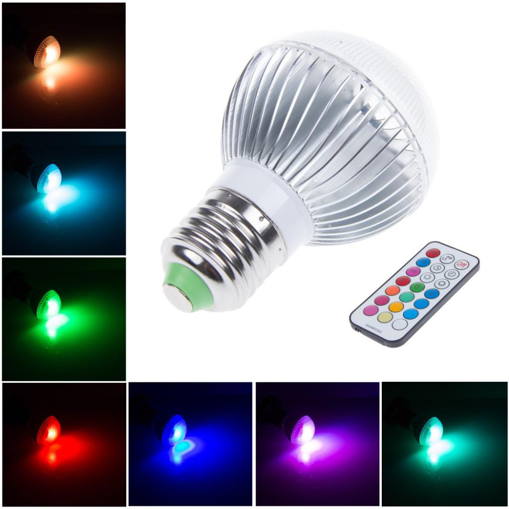 30x dimmable ac 110v 240v 220v 7w e27 b22 gu10 rgb led light 16 colors lamb bulb 21 key timing. Black Bedroom Furniture Sets. Home Design Ideas