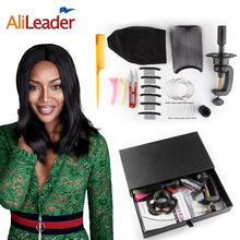Alileader Good Quality 34pcs Human Hair Wig Tools Weaving Thread Curved Needle Dome Caps To Make Wigs Canvas Block Head Holder