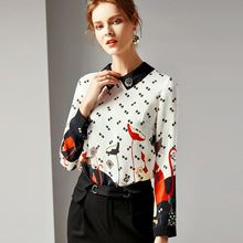 Chiffon Print Long Sleeve Straight Pullovers Blouse 2019 New Women Spring Summer Office Lady Work Shirts